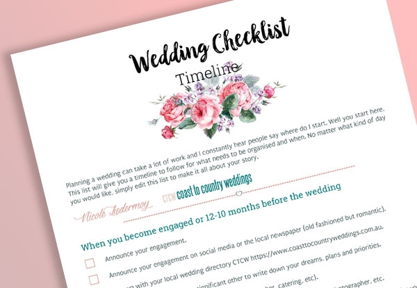 Free Printable Wedding Checklist For  Months