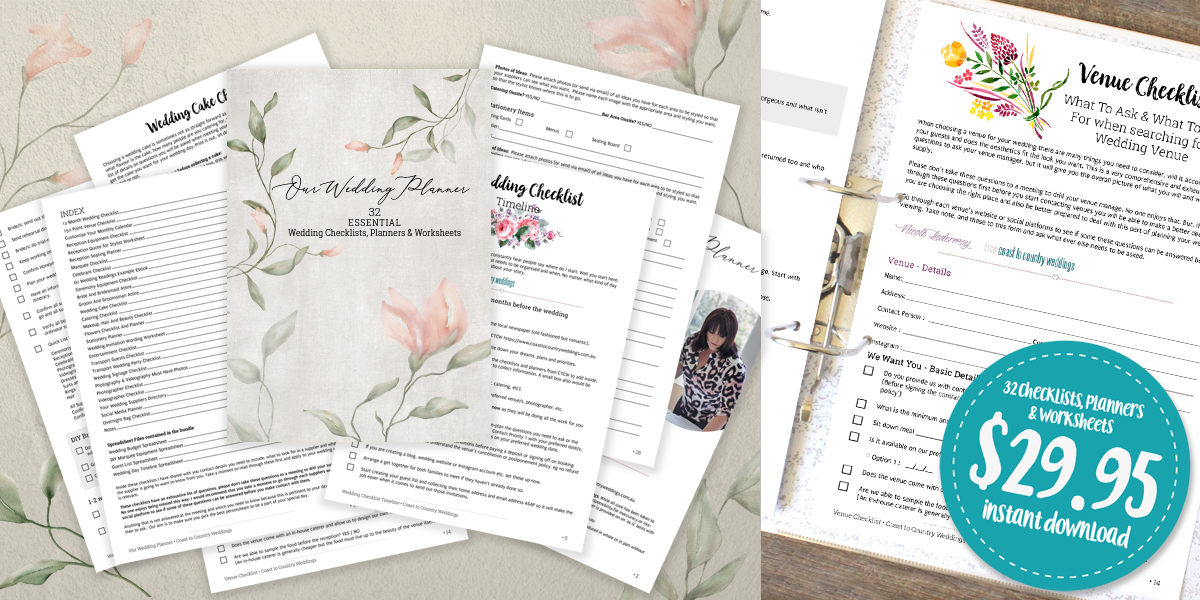 Our 32 Essential Wedding Planner, Worksheets & Checklists will Make Your Wedding Planning Easier