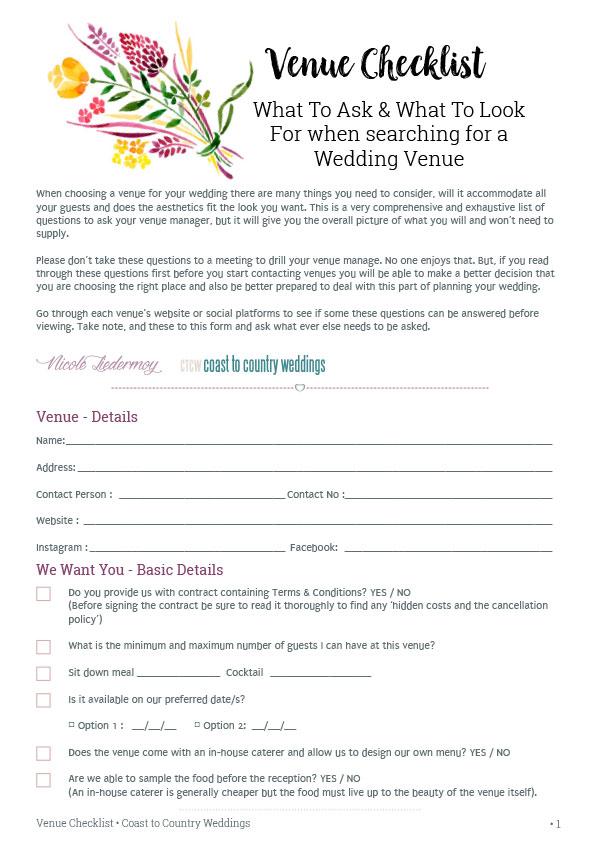 Venue Checklist