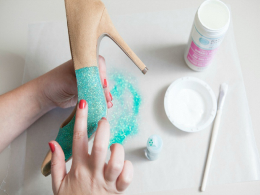 Something bling, something blue...DIY Glitter Heels