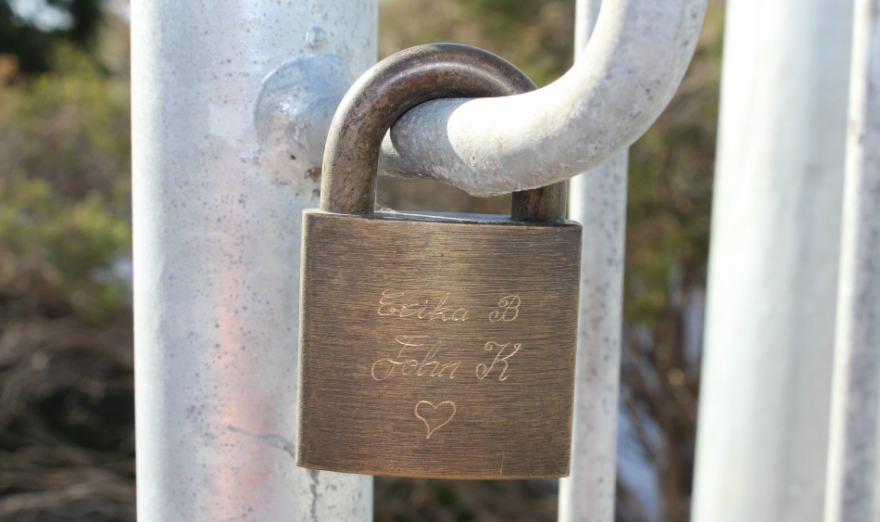 Love Lock on Bridge at Tobys Inlet